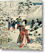 Maids In A Snow Covered Garden Metal Print by Hiroshige