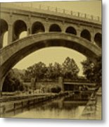 Manayunk Canal In Sepia Metal Print by Bill Cannon