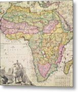 Map Of Africa Metal Print by Pieter Schenk
