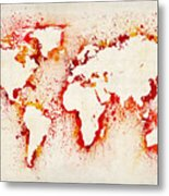Map Of The World Paint Splashes Metal Print by Michael Tompsett