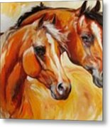 Mare And Stallion  By M Baldwin Sold Metal Print by Marcia Baldwin