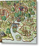 Methods Of Sieging And Attacking Metal Print by Theodore de Bry