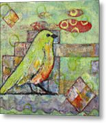 Mint Green Bird Art Metal Print by Blenda Studio