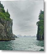 Monoliths In Aialik Cape On A Foggy Metal Print by James Forte
