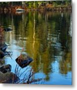 Morning Reflections On Chad Lake Metal Print by Larry Ricker