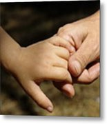 Mother Holding Baby Daughter's Hand Metal Print by Sami Sarkis