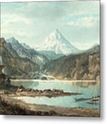 Mountain Landscape With Indians Metal Print by John Mix Stanley