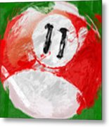 Number Eleven Billiards Ball Abstract Metal Print by David G Paul