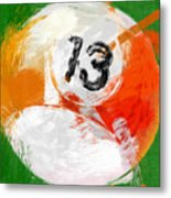 Number Thirteen Billiards Ball Abstract Metal Print by David G Paul