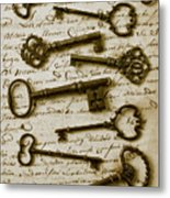 Old Keys On Letter Metal Print by Garry Gay