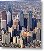 Panoramic Philly Skyline Aerial Photograph Metal Print by Duncan Pearson