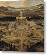 Perspective View Of The Chateau Gardens And Park Of Versailles Metal Print by Pierre Patel