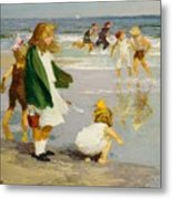Play In The Surf Metal Print by Edward Henry Potthast