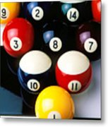 Pool Balls On Tiles Metal Print by Garry Gay