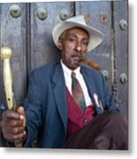 Portrait Of A Man Wearing A 1930s-style Suit And Smoking A Cigar In Havana Metal Print by Sami Sarkis