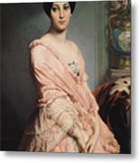 Portrait Of Madame F Metal Print by Edouard Louis Dubufe