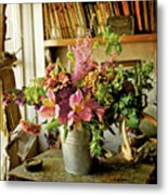 Potting Shed Flowers Metal Print by Gerry Walden