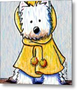 Rainy Day Westie Metal Print by Kim Niles
