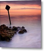 Red Sky Caution Metal Print by Mike  Dawson