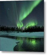 Reflected Aurora Over A Frozen Laksa Metal Print by Arild Heitmann