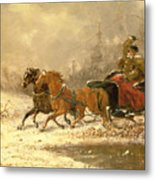 Returning Home In Winter Metal Print by Charles Ferdinand De La Roche