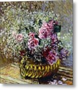 Roses In A Copper Vase Metal Print by Claude Monet