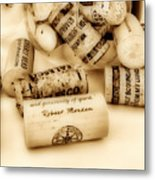 Sepia Corks Metal Print by Cheryl Young