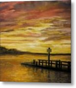 Sesuit Harbor At Sunset Metal Print by Jack Skinner