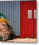 Shed Doors And Tangled Nets Metal Print by Louise Heusinkveld