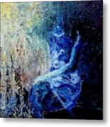 Sitting Young Girl Metal Print by Pol Ledent