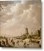 Skaters On A Frozen Canal Metal Print by Hendrik Willem Schweickardt