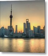 Skyline At Sunrise Metal Print by Photo by Dan Goldberger