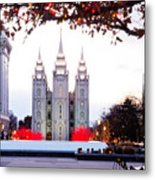 Slc Temple Red And White Metal Print by La Rae  Roberts