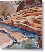 Slide Rock Metal Print by Sandy Tracey