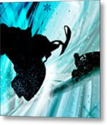 Snowmobiling On Icy Trails Metal Print by Elaine Plesser