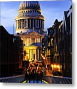 St. Paul's Cathedral From Millennium Bridge Metal Print by Elena Elisseeva