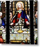 Stained Glass Window Last Supper Saint Giles Cathedral Edinburgh Scotland Metal Print by Christine Till