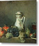 Still Life With Grapes And Pomegranates Metal Print by Jean-Baptiste Simeon Chardin