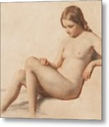 Study Of A Nude Metal Print by William Mulready