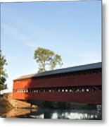 Sun Up At Sachs Covered Bridge Metal Print by Bill Cannon
