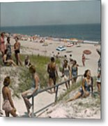 Sunbathers And Beach Umbrellas Dot Metal Print by Willard Culver