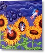 Sunflowers And Faeries Metal Print by Genevieve Esson