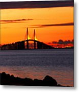 Sunset Over The Skyway Bridge Metal Print by Barbara Bowen