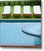 Swimming Pool And Chairs Metal Print by Atiketta Sangasaeng