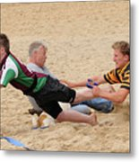 Tag Beach Rugby Competition Metal Print by David  Hollingworth