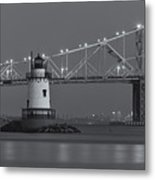 Tarrytown Lighthouse And Tappan Zee Bridge At Twilight II Metal Print by Clarence Holmes