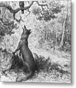 The Crow And The Fox Metal Print by Gustave Dore