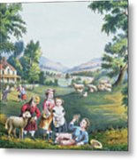 The Four Seasons Of Life Childhood Metal Print by Currier and Ives