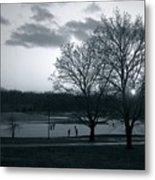 The Ice Skaters...kirby Park Pond Kingston Pa. Metal Print by Arthur Miller