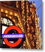 The Underground And Harrods At Night Metal Print by Heidi Hermes